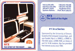 Official Nyx Trading Card from 1994